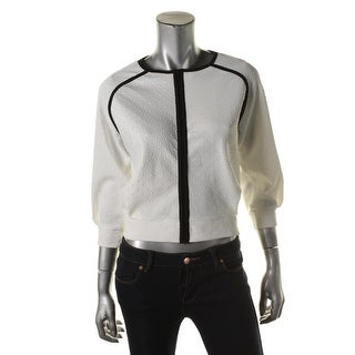 French Connection Womens Contrast Trim Textured Cropped Jacket - S