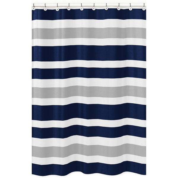 Navy Blue and Gray Stripe Shower Curtain. Opens flyout.