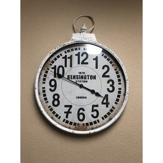 Traditional 32 Inch White Round Iron Wall Clock by Studio 350