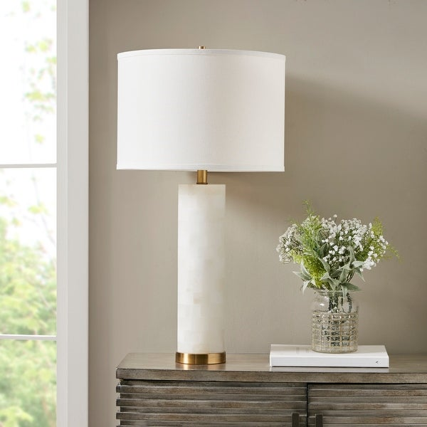 Prague 30-Inch White Alabaster Table Lamp by Hampton Hill. Opens flyout.