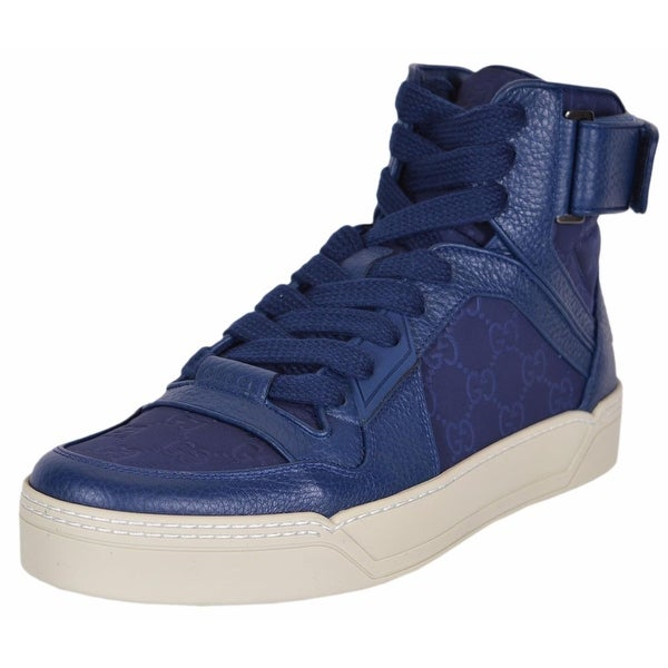 59942dc49 Gucci Men's Blue Nylon GG Guccissima High Top Sneakers Trainers Shoes 8