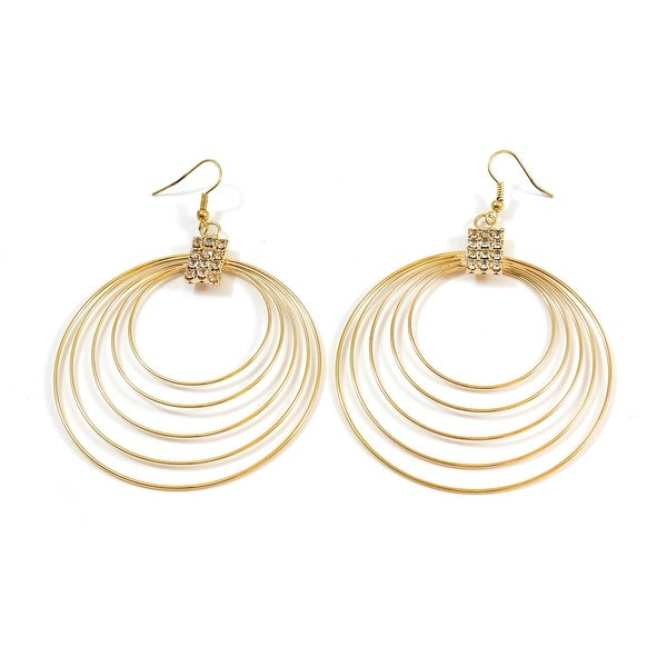 Multi Wire Hoop Fashion Earrings Stone Cluster Center, Gold