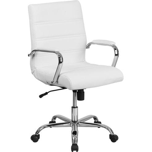 Alexandria Bay Mid-Back White Leather Stylish Executive Swivel Chair w/Chrome Base & Arms