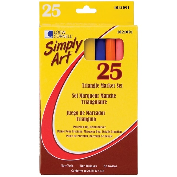 Simply Art Triangle Markers 25/Pkg-Assorted Colors