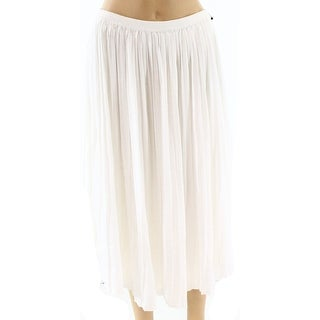 Vince Camuto NEW White Ivory Womens Size Medium PM Petite Pleated Skirt
