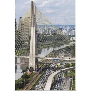 """Ponte Estaiada and Pinheiros River, Sao Paulo, Brazil"" Poster Print"