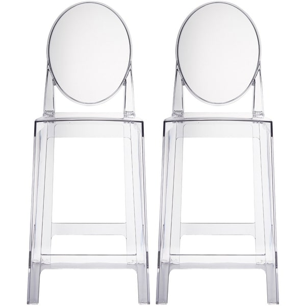 "2xhome - Set of Two (2) - Clear - 25"" Seat Height With Modern Plastic Chair Side Bar Stool Counter Stool Accent Stools Armless"