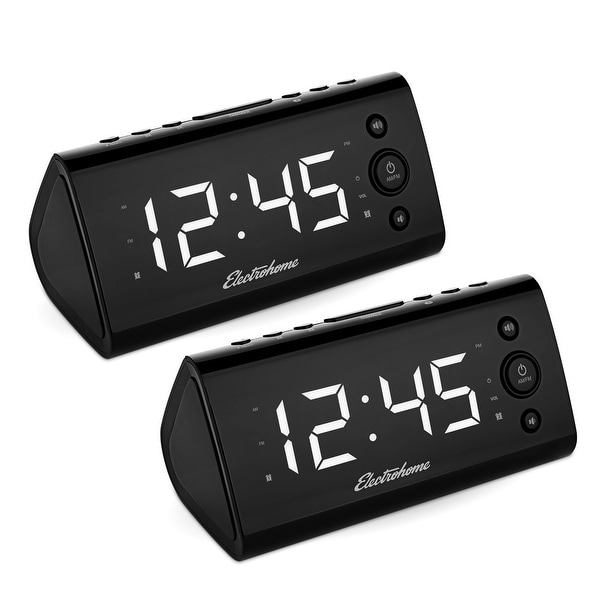 Electrohome USB Charging Alarm Clock Radio for Smartphones & Tablets with Dual Alarm, Battery Backup - 2 PACK