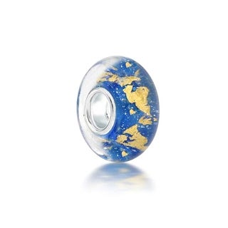 Bling Jewelry Blue Gold Foil Murano glass Lampwork Round Charm Bead .925 Sterling Silver