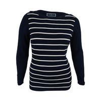 Karen Scott Women's Striped Sweater - intrepid blue combo