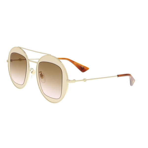 b91997fba Shop Gucci GG0105S 007 Beige/Gold Round Sunglasses - 47-27-145 ...