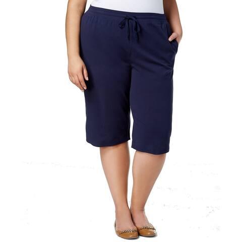 Karen Scott Women's Solid Navy Blue Size 1X Plus Drawstring Shorts