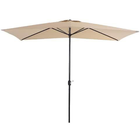 PHI VILLA 10 x 6.6 ft Patio Umbrella with 6 Sturdy Ribs, Rectangle Outdoor Market Table Umbrellas with Crank Handle
