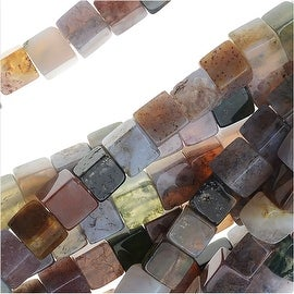 Jasper & Agate Gemstone Mix, Cube Beads 4mm, 16 Inch Strand, Purple Tone