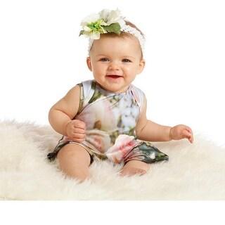 WonderLand Baby Girls White Floral Print One-Piece Caroline Romper