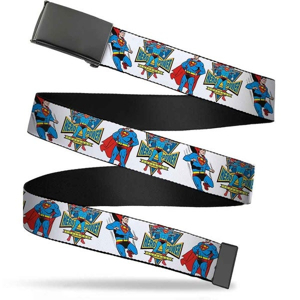 Blank Black Buckle Superman Hero Power Poses White Webbing Web Belt