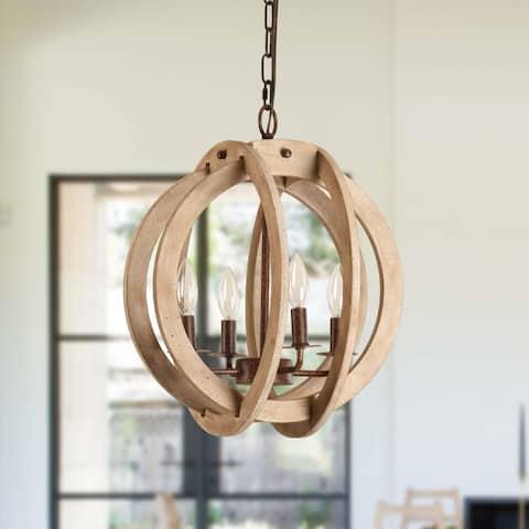 Shabby Chic 4-Light Global Shape Wood Chandelier Pendant Lighting
