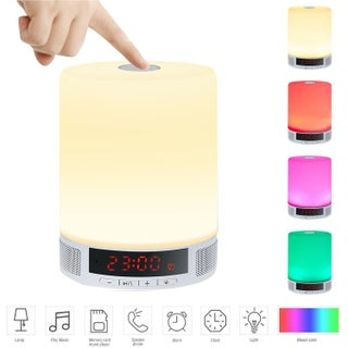 TechComm L2 Wireless Bluetooth Speaker with Touch-activated LED Lamp Digital Clock Hands-free Calling and Built-in Microphone