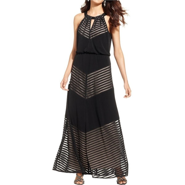 London Times Womens Maxi Dress Sleeveless Illusion