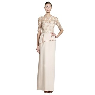 Teri Jon Embellished Lace Asymmetric Peplum Long Dress Gown