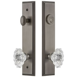 """Grandeur CARBIA_TP_ESET_238  Carre Solid Brass Tall Plate Single Cylinder Keyed Entry Set with Biarritz Crystal Knob and 2-3/8"""""""