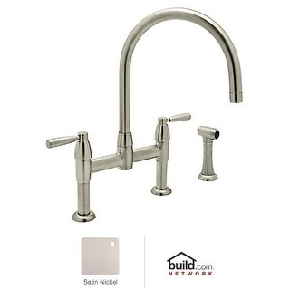 Rohl U.4273LS-2 Perrin and Rowe Bridge Kitchen Faucet with Side Spray with Metal Lever Handles