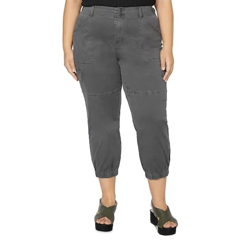 Sanctuary Womens Plus Cargo Pants Stretch Cropped - Gray