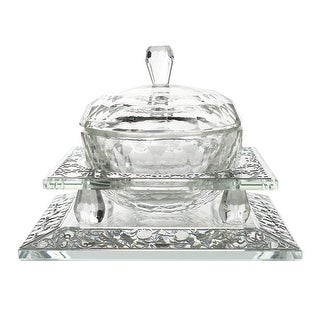 """Crystal Honey Dish With  Pomegranate Silver  3 Pc  4 3/4 w X1 1/2 H """""""