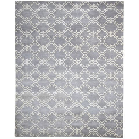 "One of a Kind Hand-Tufted Modern & Contemporary 8' x 10' Scroll Wool Grey Rug - 8'0""x10'0"""