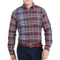 Ralph Lauren Plaid Twill Button Down Casual Shirt Blue and Wine X-Small XS