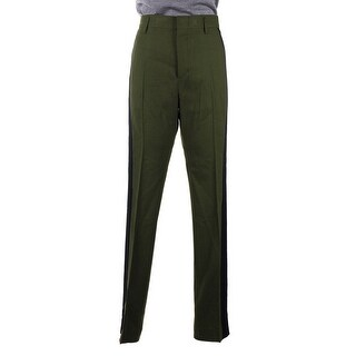 Haider Ackermann Womens Green Wool Black Paneled Track Pants