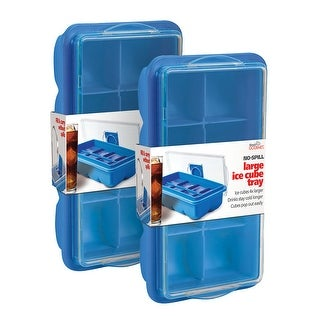 No Spill Ice Cube Tray 2  - Covered Lid Design - Blue