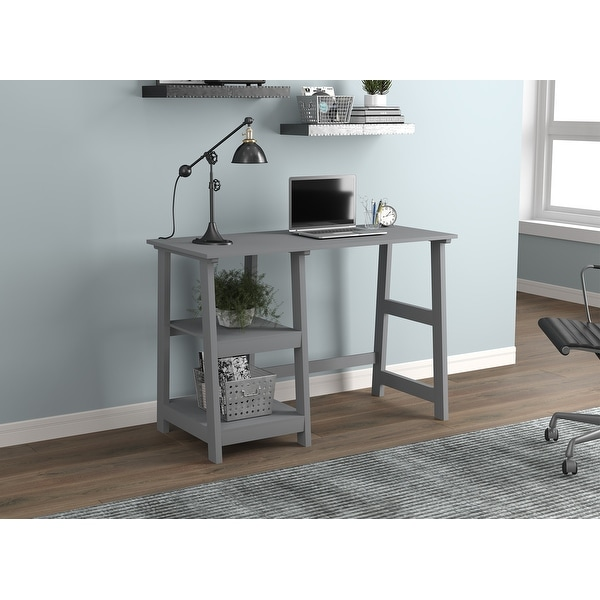 Computer Desk 44L Light Grey 2 Open Concept Shelves. Opens flyout.
