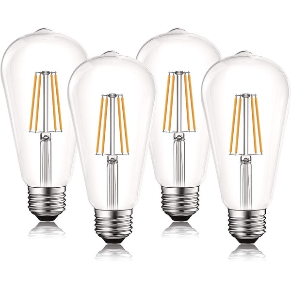 Luxrite Vintage LED Edison Bulb 60W Equivalent, ST19 ST58, 2700K Warm White, 550 Lumens, Dimmable, E26 Base (4 Pack). Opens flyout.