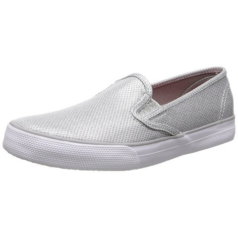Sperry Top-Sider Seaside Slip On Canvas Sneakers Shoes Silver