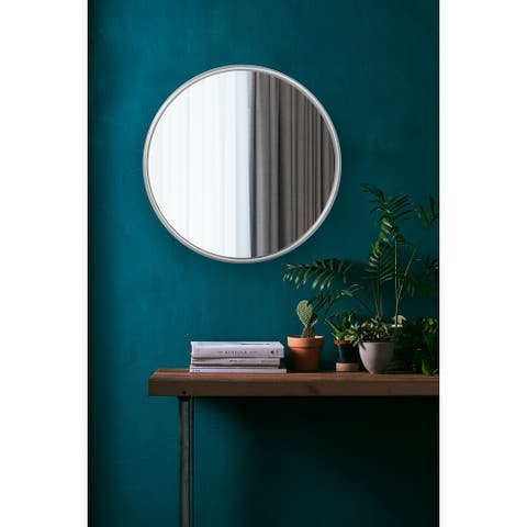 Silver metal circular frame indoor iron wall mounted plane mirror