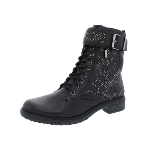 Vince Camuto Womens Tanowie Combat Boots Leather Studded