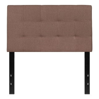 Offex Contemporary Tufted Upholstered Twin Size Panel Headboard in Camel Fabric