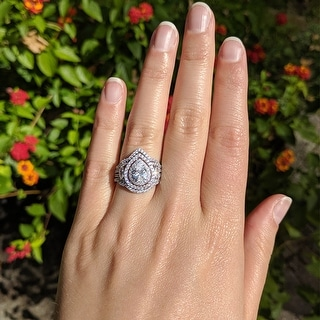 Link to Sterling Silver Cubic Zirconia Dainty Two Piece Pear and Marquise Halo Engagement Ring CZ Trio Ring Stackable Bridal Set Similar Items in Rings