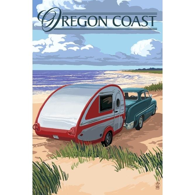 Oregon Coast - Retro Camper on Beach - LP Artwork (Chef's Cotton/Poly on palm springs mobile home, victoria mobile home, oregon coast single family home, long island mobile home, phoenix mobile home, mobile mobile home,