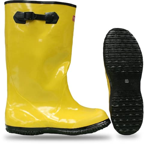 """Boss 2KP448116 Over-The-Shoe Slush Rubber Knee Boots, 17"""", Size-16, Yellow"""