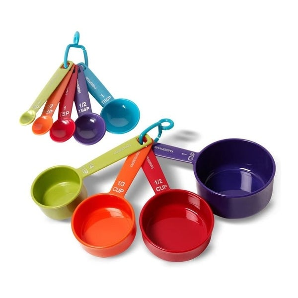Farberware Color 9-Piece Plastic Measuring Cups and Spoons Set. Opens flyout.