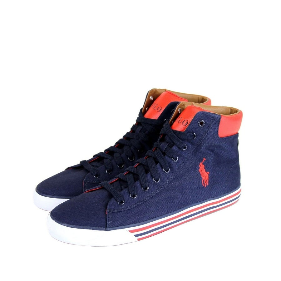 Red Canvas High Top Sneaker with Logo