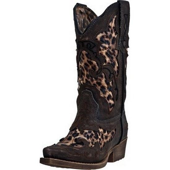 Laredo Western Boots Girls Sabre Leopard Underlay Child Brown LC2233