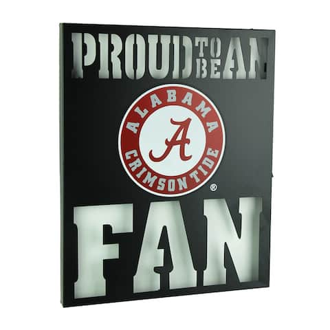 Proud To Be An Alabama Fan Cutout Metal Wall Sign - Black - 14.75 X 12 X 1 inches