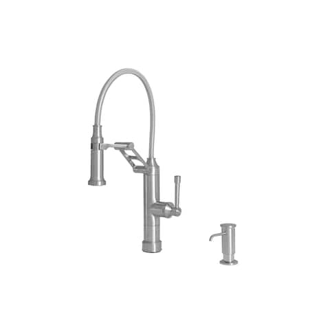 "Giagni PD240 Strattura 19"" Single-Hole Pull-Down Kitchen Faucet with Dual-Function Docking Sprayhead and Soap Dispenser"