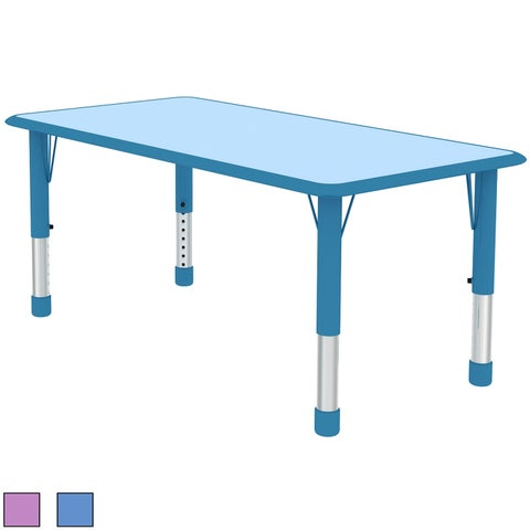 2xhome Kids Table Only For Toddler Child Children Preschool Daycare Nursery Activity Metal Chrome Plastic Wood Blue Teal