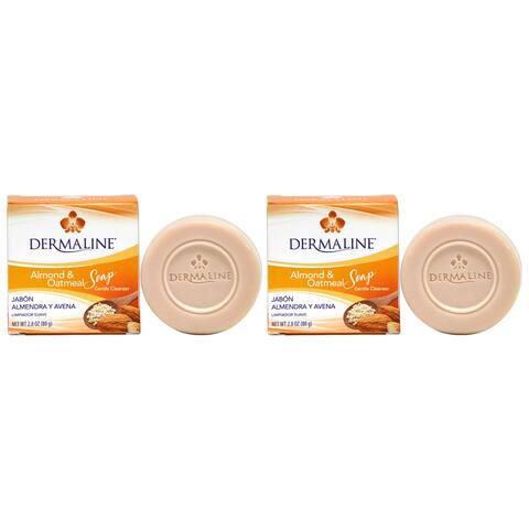 Dermaline Almond & Oatmeal Gentle Cleanser Soap 2.8oz ( Pack of 2 )