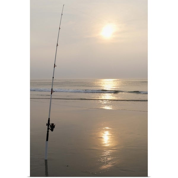 """""""Fishing rod by the ocean in the early morning"""" Poster Print"""