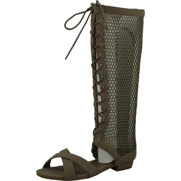 Forever Womens Caren14 Open Toe Low Heel Knee High Flat Gladiator Sandal